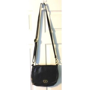 Fossil Black CrossBody Leather Shoulder Bag Purse